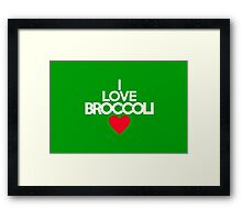 I love broccoli - red heart version Framed Print