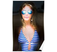 Retro girl in blue shades Poster