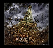 Eiffel Puddle Reflection by Thamer Al-Tassan