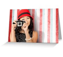 Pin-up photographer in 40s fashion holding camera Greeting Card