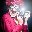Clown Paparazzi Taking Photograph At Red Carpet Event by Ryan Jorgensen