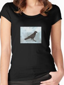 Raven in the Snow Women's Fitted Scoop T-Shirt