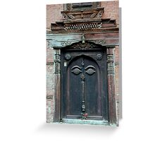 Buddha's Eyes on Nepalese Door Greeting Card