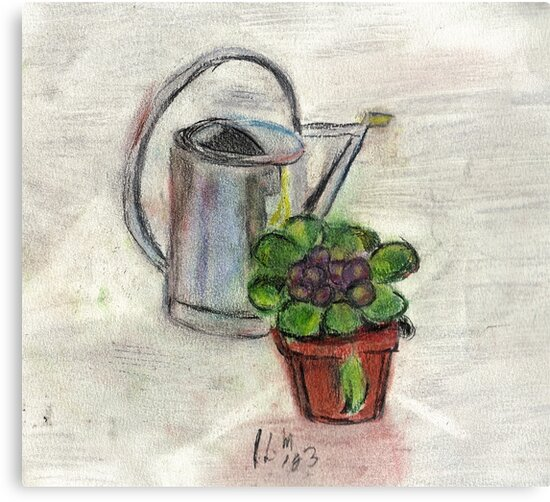 Watering Can With Flowerpot by RobynLee