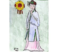 Lady With Yellow Lantern Photographic Print