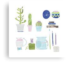 Cactus in my studio Canvas Print