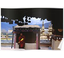 Monk on Jokhang Roof - Lhasa, Tibet Poster