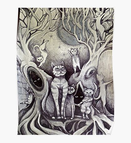 they danced under the light of the moon cat art Poster