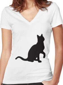 cat tee Women's Fitted V-Neck T-Shirt