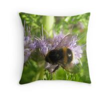 Bee on purple flower Throw Pillow