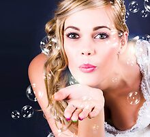 Playful Bride Blowing Bubbles At Wedding Reception by Ryan Jorgensen
