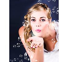 Playful Bride Blowing Bubbles At Wedding Reception Photographic Print