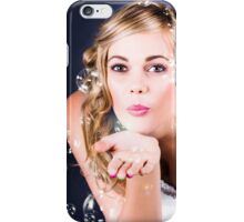 Playful Bride Blowing Bubbles At Wedding Reception iPhone Case/Skin