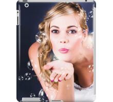Playful Bride Blowing Bubbles At Wedding Reception iPad Case/Skin