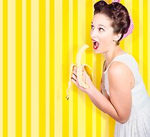Retro pinup girl eating banana in 1950s fashion by Ryan Jorgensen