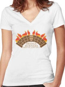 Bridgeburners first in last out with a burning bridge Women's Fitted V-Neck T-Shirt