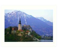 Island Church at Lake Bled, Slovenia Art Print