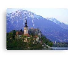 Island Church at Lake Bled, Slovenia Canvas Print