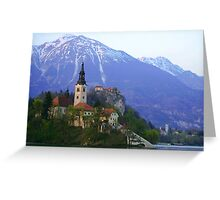 Island Church at Lake Bled, Slovenia Greeting Card