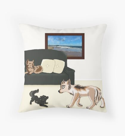Wolf Pups Throw Pillow