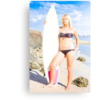 Beautiful Young Blond Surf Woman Canvas Print