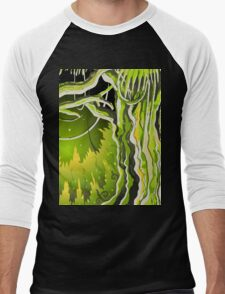 Magic Tale Forest Background Men's Baseball ¾ T-Shirt
