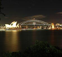 Sydney Harbour Bridge & Opera House at night by Trevor Needham