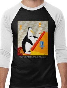Eddie Penguin on black Men's Baseball ¾ T-Shirt