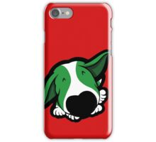 Big Nose Bull Terrier Puppy Green  iPhone Case/Skin