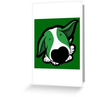 Big Nose Bull Terrier Puppy Green  Greeting Card