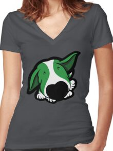 Big Nose Bull Terrier Puppy Green  Women's Fitted V-Neck T-Shirt