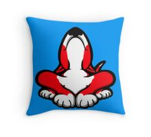 English Bull Terrier After A Hard Day Red and White Throw Pillow
