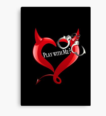 Devil Heart and Handcuffs - White Text, Black background. Canvas Print