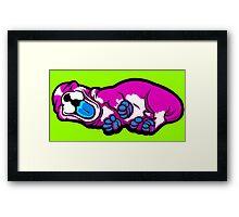 Sleepy Puppy Shocking Pink and Blue Framed Print