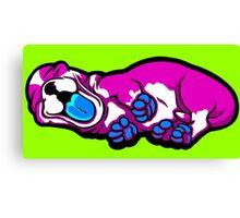 Sleepy Puppy Shocking Pink and Blue Canvas Print