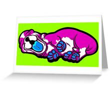Sleepy Puppy Shocking Pink and Blue Greeting Card