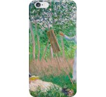 Claude Monet - In the Woods at Giverny Blanche Hoschede at Her Easel with Suzanne Hoschede Reading iPhone Case/Skin
