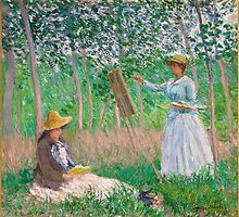Claude Monet - In the Woods at Giverny Blanche Hoschede at Her Easel with Suzanne Hoschede Reading by Adam Asar
