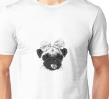 Funny Pug Dog with a bow Unisex T-Shirt