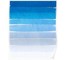 Blue Ombre Brushstroke - Summer, Beach, Ocean, Water, LA Cute trendy, painterly art Poster