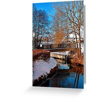 Bridge and river in winter scenery   architectural photography Greeting Card