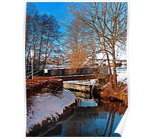 Bridge and river in winter scenery | architectural photography Poster