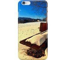 Snow covered bench in winter scenery | landscape photography iPhone Case/Skin