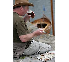 An Arbroath smokie and a pint, at Portsoy traditional boat festival Photographic Print