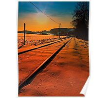 Winter season railroad sunset | landscape photography Poster