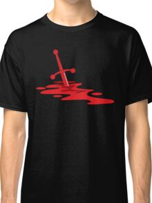 Blood red sword on a field of red blood stained battlefield Classic T-Shirt