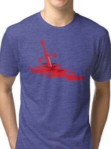 Blood red sword on a field of red blood stained battlefield Tri-blend T-Shirt
