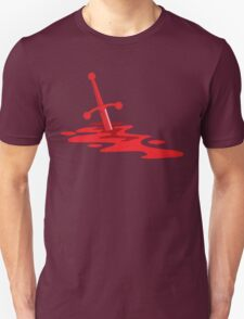 Blood red sword on a field of red blood stained battlefield Unisex T-Shirt