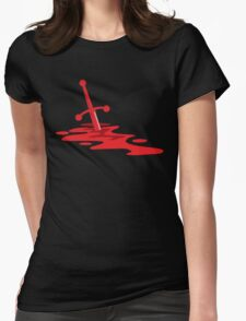 Blood red sword on a field of red blood stained battlefield Womens Fitted T-Shirt