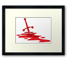 Blood red sword on a field of red blood stained battlefield Framed Print